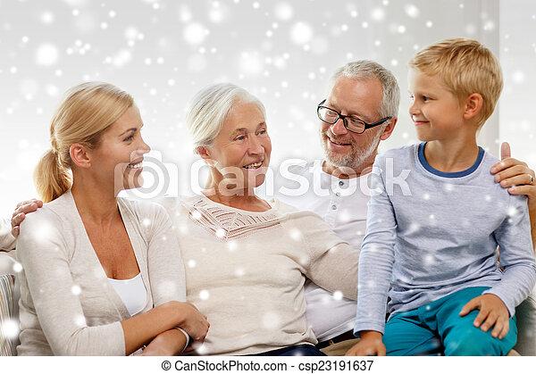 家, ソファー, 幸せな家族, モデル - csp23191637