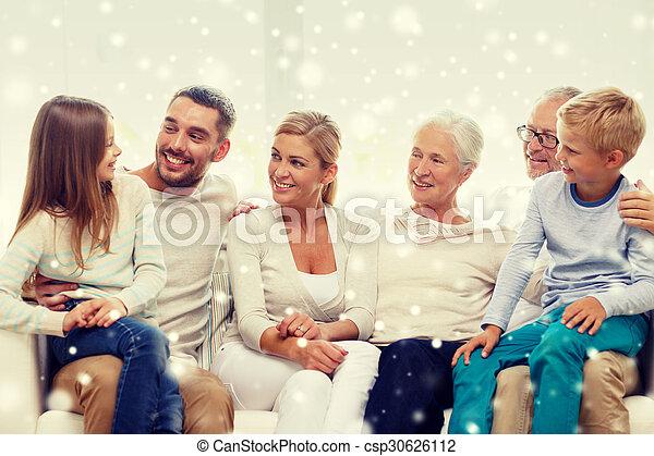 家, ソファー, 幸せな家族, モデル - csp30626112