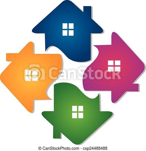 家, チームワーク, ロゴ - csp24488488