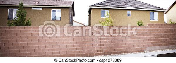 家, パノラマである, 壁, れんが - csp1273089