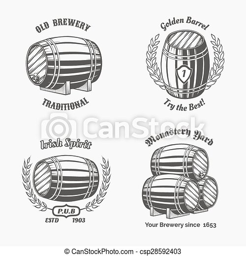 家, ビール, セット, バッジ, 型 - csp28592403