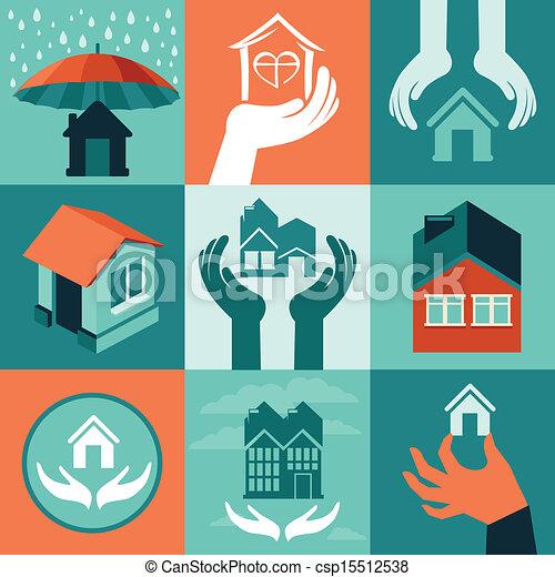 家, ベクトル, 保険 - csp15512538