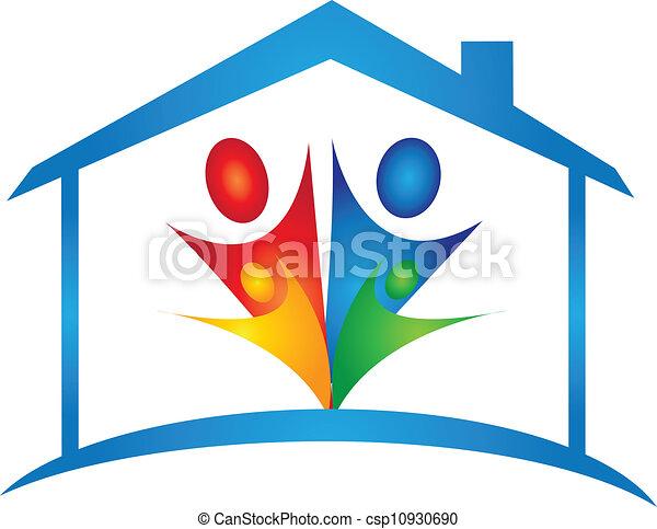 家, ベクトル, 新しいファミリー, ロゴ - csp10930690
