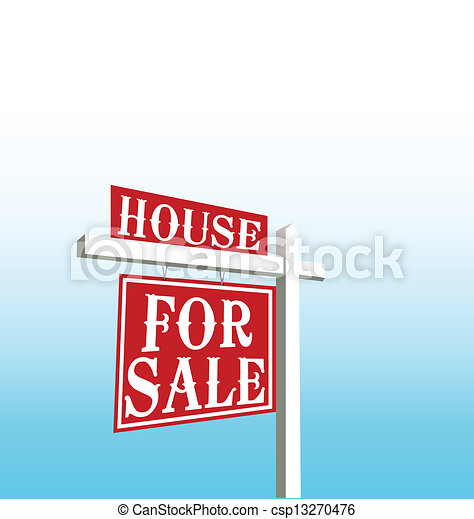 家, ベクトル, 販売サイン - csp13270476