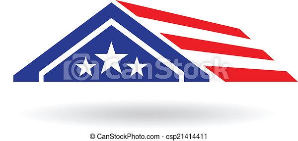 家, ベクトル, image., アメリカ, アイコン - csp21414411