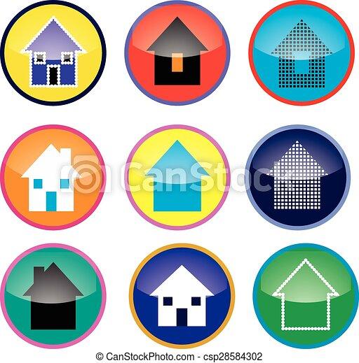 家, ボタン - csp28584302