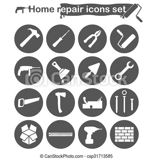 家 修理, セット, 改修, アイコン - csp31713585