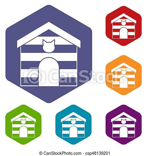 家, 六角形, セット, ねこ, アイコン - csp48139201