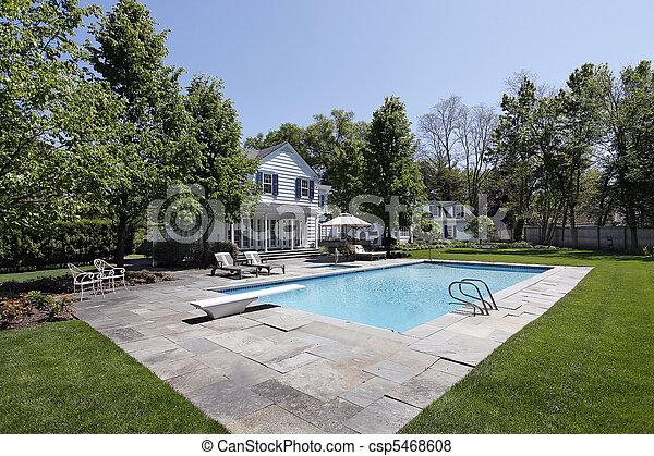 家, 外, 贅沢, プール, 水泳 - csp5468608