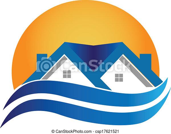 家, 実質, -, ロゴ, ベクトル, 財産 - csp17621521