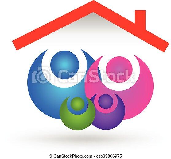 家, 家族, ロゴ - csp33806975