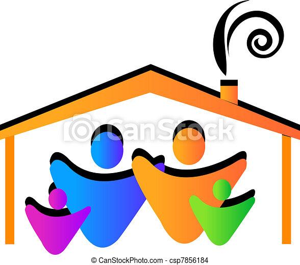 家, 家族, ロゴ - csp7856184
