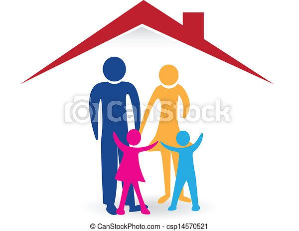 家, 幸せ, ロゴ, 家族, 新しい - csp14570521