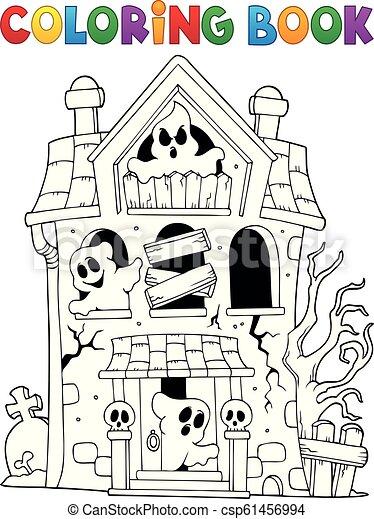 家, 幻影, 着色, 取りつかれた, 本 - csp61456994