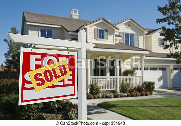 家, 新, 被賣的 標誌 - csp1334948