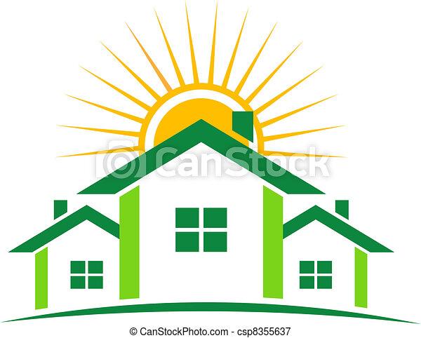 家, 日当たりが良い, ロゴ - csp8355637