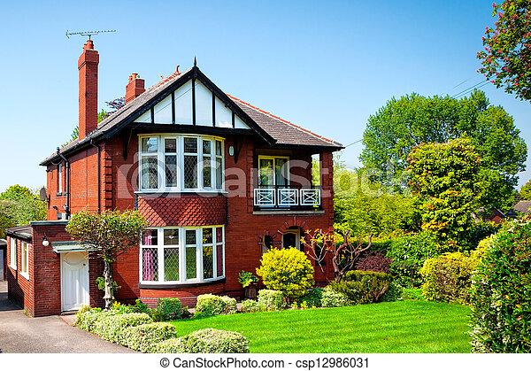 家, 春, 典型的, 庭の英語 - csp12986031