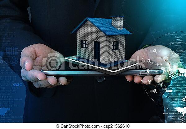 家, 显示, 聪明, 电话 - csp21562610
