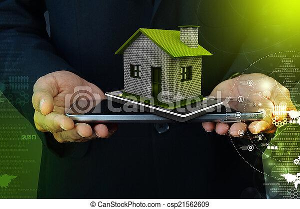 家, 显示, 聪明, 电话 - csp21562609
