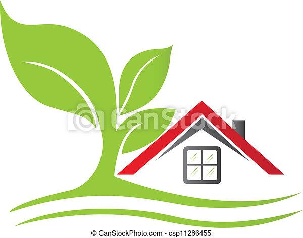 家, 木, 実質, ロゴ, 財産 - csp11286455