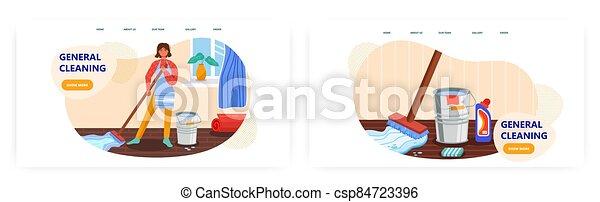 家, 概念, 地板, 房子, 矢量, 清洁, 站点, illustration., 提供, 打扫, home., detergent., 样板, 妇女, 水桶, 扫荡, 服务, 设计, 网 - csp84723396