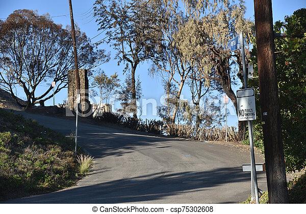 家, 残物, 破壊された, 山火事 - csp75302608