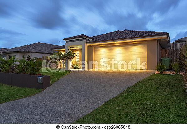 家, 現代, 夕闇 - csp26065848