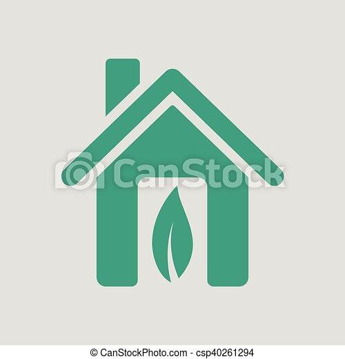 家, 生態学的, 葉, アイコン - csp40261294