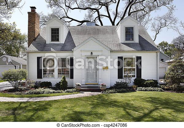家, 白, 郊外 - csp4247086