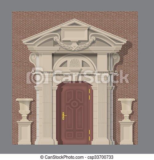 家, 石, ベクトル, 入口, イメージ - csp33700733