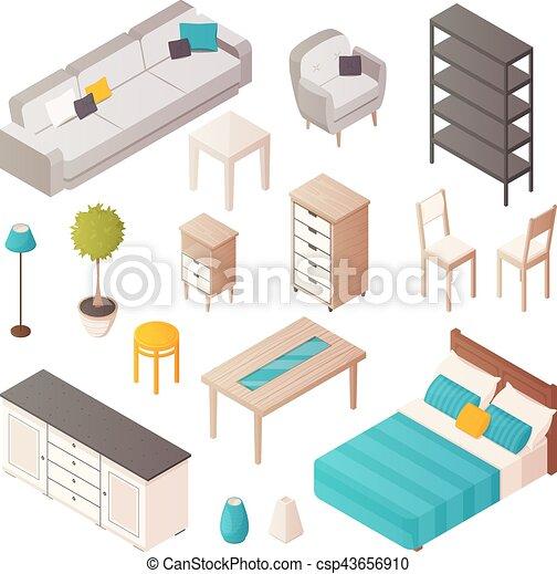家, 等大, セット, 家具 - csp43656910