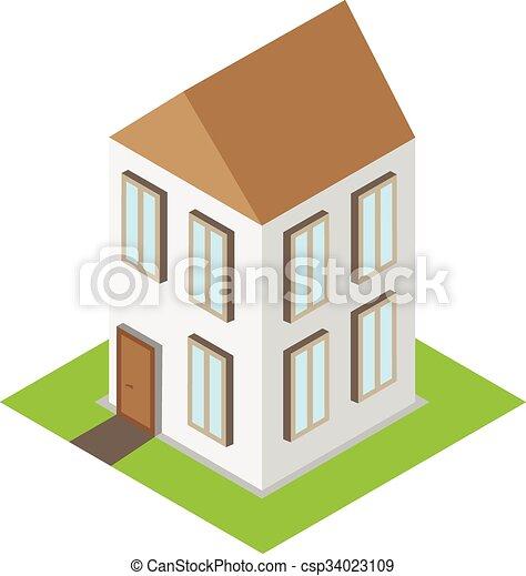 家, 等大, ベクトル, 3d, 家 - csp34023109
