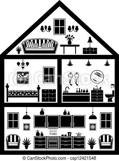 家, 計画, アイコン - csp12421548