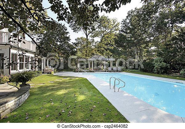 家, 贅沢, プール, 水泳 - csp2464082