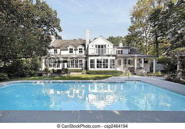 家, 贅沢, プール, 水泳 - csp2464194