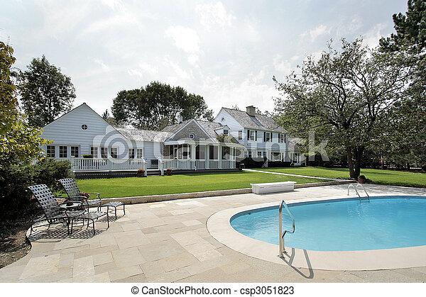 家, 贅沢, プール, 水泳 - csp3051823