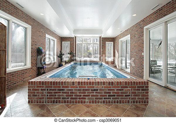 家, 贅沢, プール, 水泳 - csp3069051