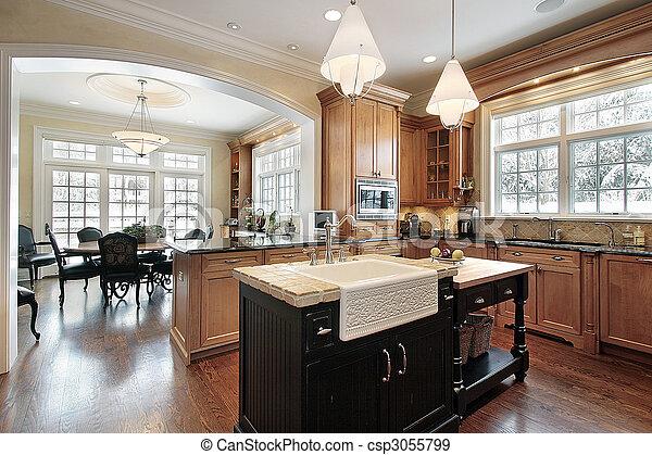 家, 贅沢, 台所 - csp3055799