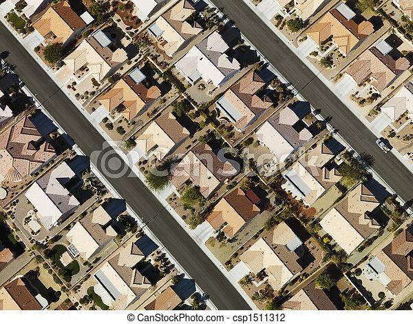 家, 郊外, aerial. - csp1511312