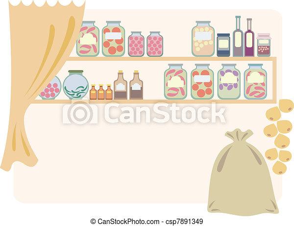 家, 食料貯蔵室, 食品。 - csp7891349