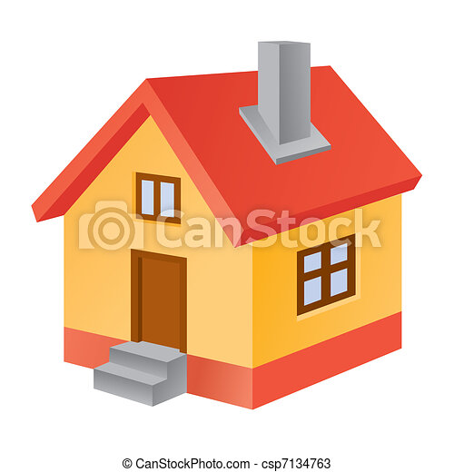 家, 3d, アイコン - csp7134763