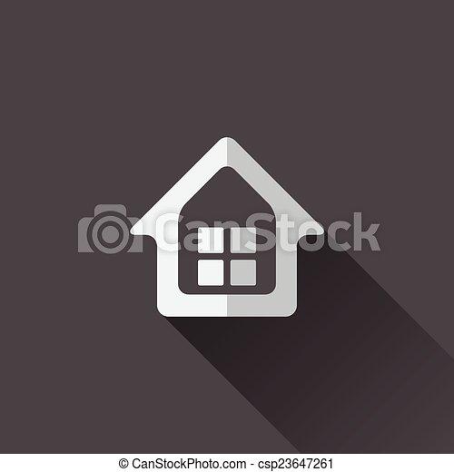 家, icon., デザイン, 平ら - csp23647261