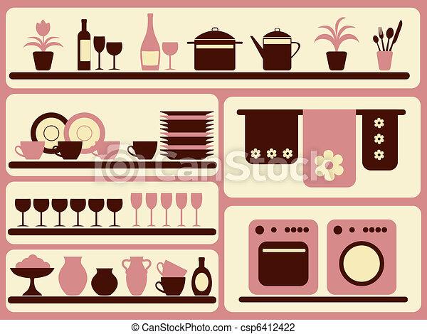 家, set., オブジェクト, 製品, 台所 - csp6412422