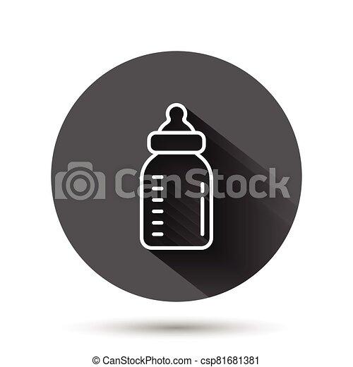 容器, イラスト, ガラス, 飲みなさい, アイコン, 赤ん坊, 黒, 影, concept., 長い間, ビジネス, 平ら, ベクトル, びん, ミルク, style., effect., 円, ラウンド, 背景, ボタン - csp81681381