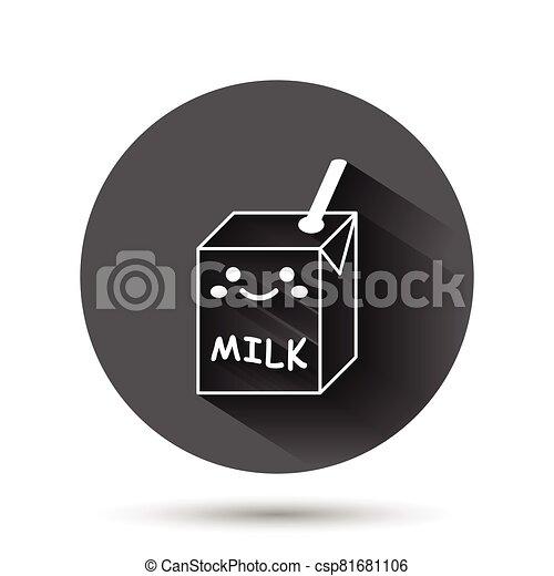 容器, イラスト, 面白い, アイコン, 黒, 影, concept., 長い間, ビジネス, 平ら, ベクトル, かわいい, ミルク, style., milkshake, effect., 漫画, 円, ラウンド, 背景, ボタン - csp81681106