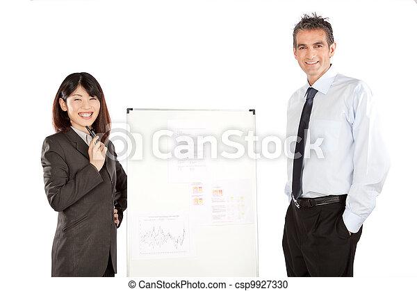 寄付, 女性実業家, プレゼンテーション, ビジネスマン - csp9927330