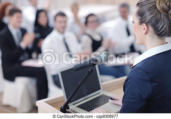 寄付, 女, プレゼンテーション, ビジネス - csp9308977