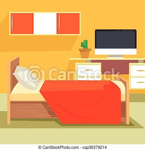 寝室, デザイン, interior. 平ら, furniture., interior., イラスト ...