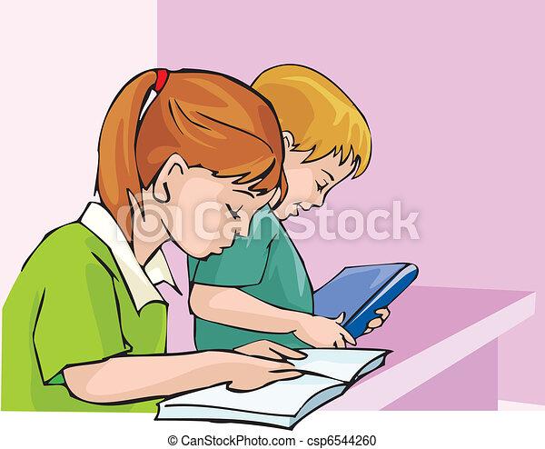 察看, 边, 学生, 集中, 学习 - csp6544260