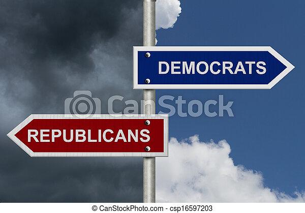 ∥対∥, 共和党員, 民主主義者 - csp16597203